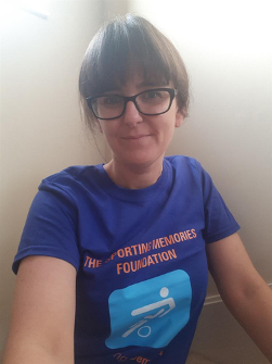 Kelly Hart, Funding Manager, in her Sporting Memories t-shirt