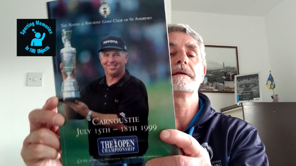Gary holds a copy of his Carnoustie Open Championship programme